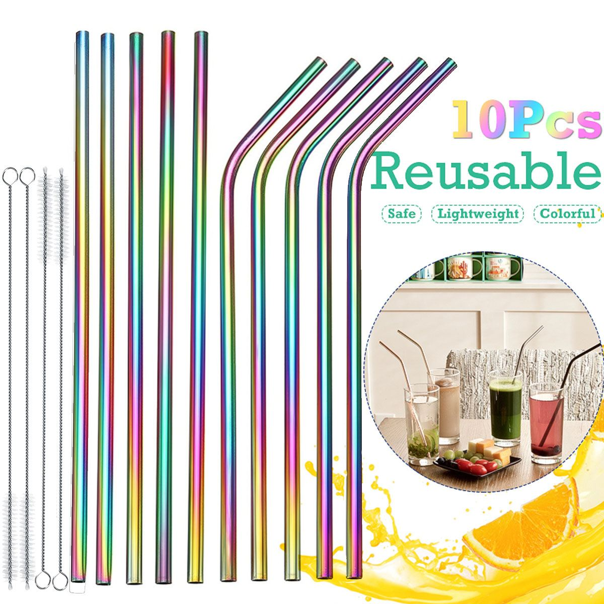 7pcs Stainless Steel Reusable Straws