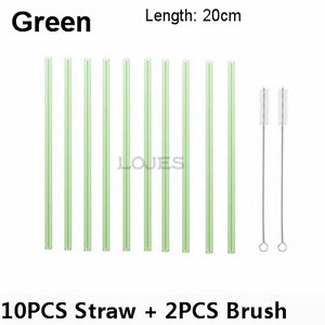 Handmade Glass Straw With 2 Piece Cleaning Brush