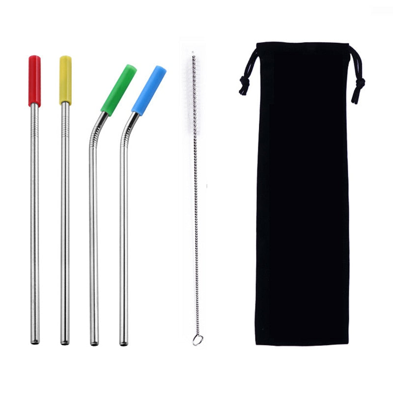 4Pcs/Set Reusable Stainless Steel Drinking Straws Set with Silicone Tips and Cleaning Brush Metal Straws for 30oz 20oz Tumblers
