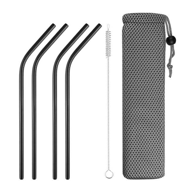 Reusable Metal Drinking Straws 304 Stainless Steel Sturdy Bent Straight Drinks Straw with Cleaning Brush Bar Party Accessory