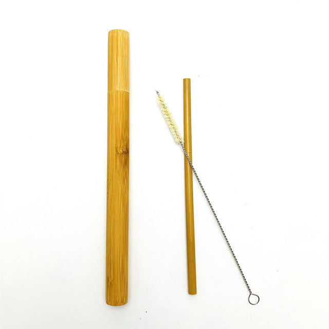 Natural bamboo drinking straw travelling set sisal hemp straws cleaning brush with organic bamboo straw tube carrying case