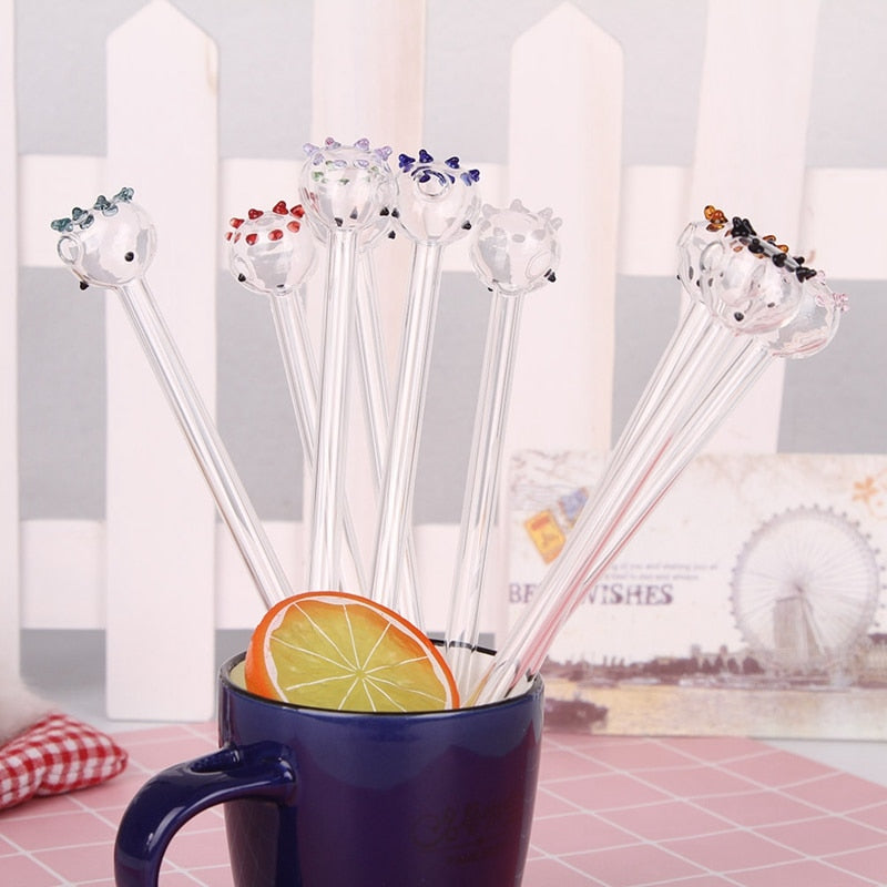 Pipette Drinking Straws Health Drinking Straws cartoon glass straws Environmental Glass 1PC 9 Color