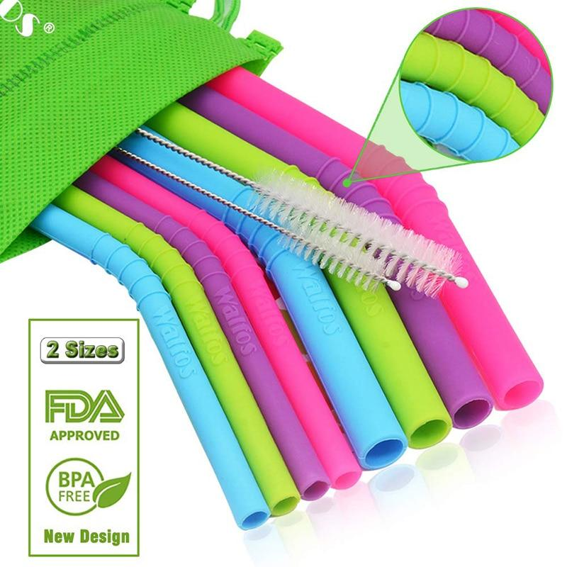 WALFOS 11 pieces/Set Reusable Silicone Straws Set Extra Long Flexible Straws Bar accessories with Cleaning Brushes Bag