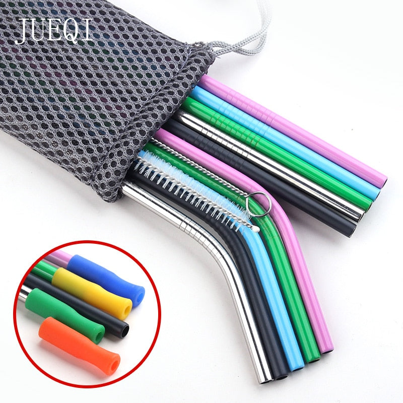 colours Reusable Metal Drinking Straws Stainless Steel Sturdy Bent Straight Drinks Straw with Cleaning Brush Bar Party Accessory