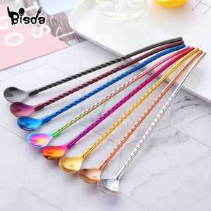 2Pcs Long Twisted Straw Spoon Portable Gold Tea Scoop Reusable Colored Stainless Steel Straws Black Dinnerware Set For Bar Party
