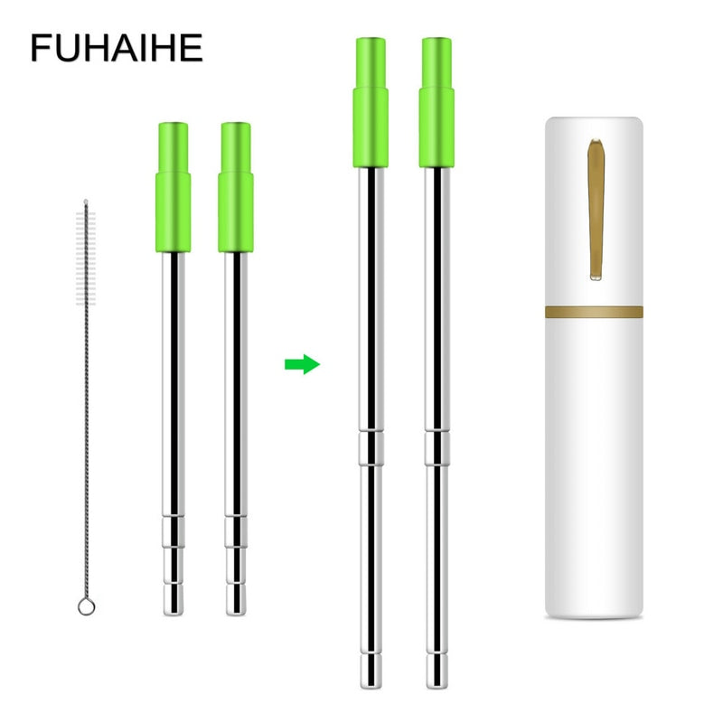 FUHAIHE Detachable Stainless Steel Telescopic Drinking Straw Travel Straw with Brush, Case and Silicon Tip (Pack-2)