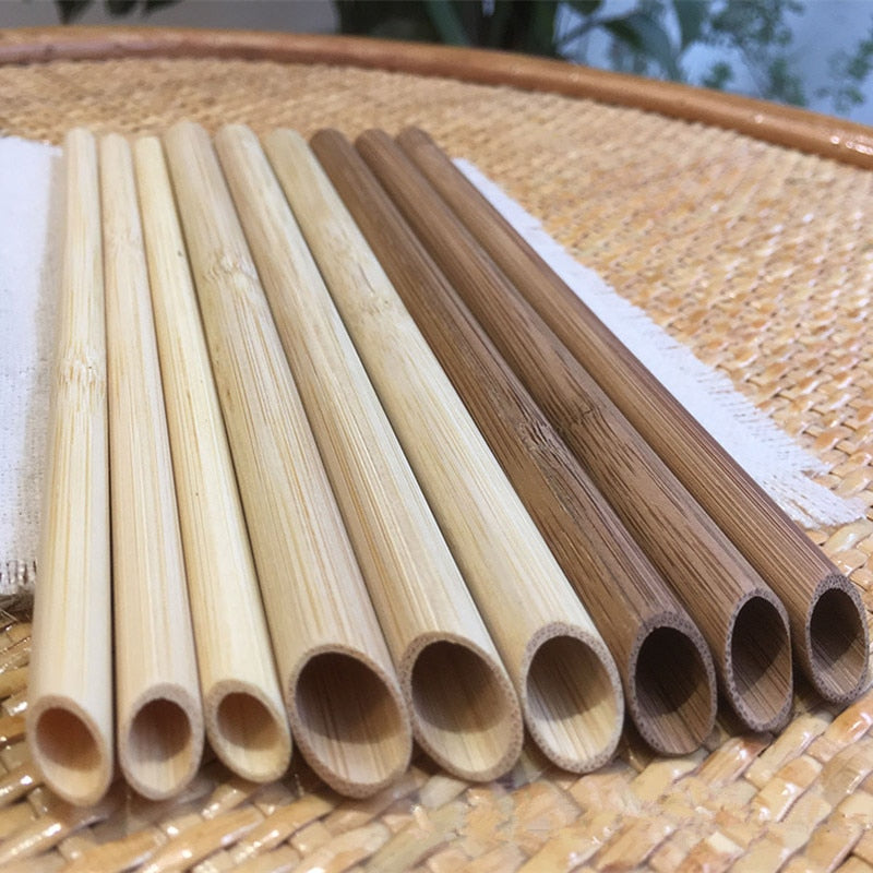 Pointed Bamboo Smoothie Straws 100pcs Eco Friendly Reusable Straw 20cm Biodegradable Bamboo Drinking Straw Tea Smoothie Juice