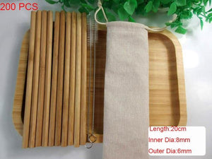 Wholesales 100pcs Eco Friendly Reusable Straw 20cm Carbonized Bamboo Smoothie Straws Pointed Coffee Milk Drinking Straw
