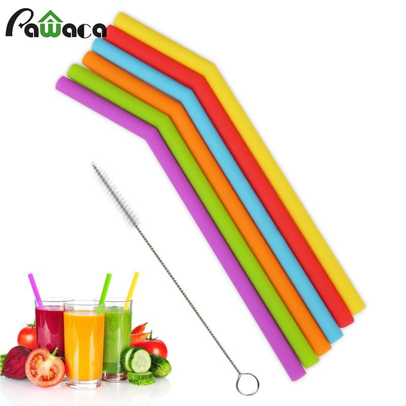 6Pcs Multi-colored Silicone Reusable Straw Set