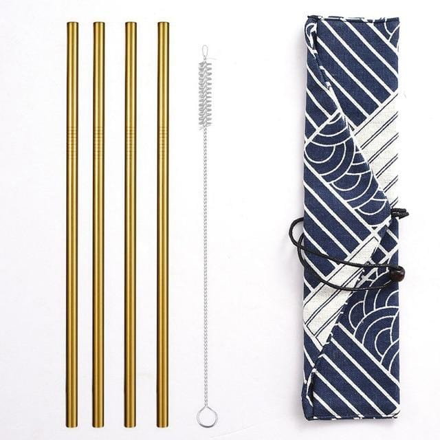 Reusable Metal Drinking Straws 304 Stainless Steel Sturdy Bent Straight Straw with Cleaning Brush and Bag Bar Party Accessory