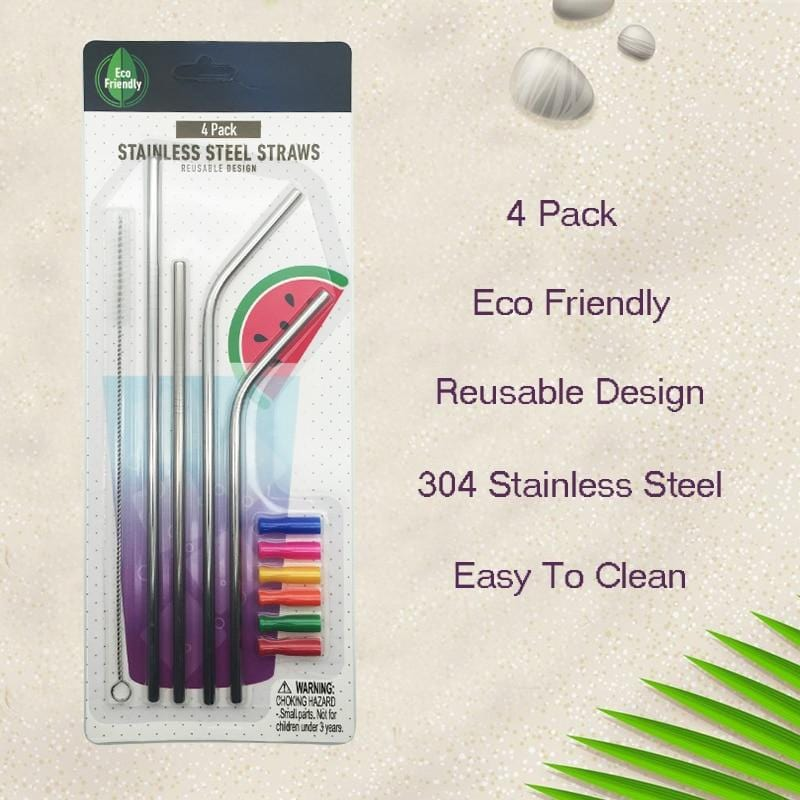 4pcs/set of Reusable Stainless Steel Straws with Silicone Tips
