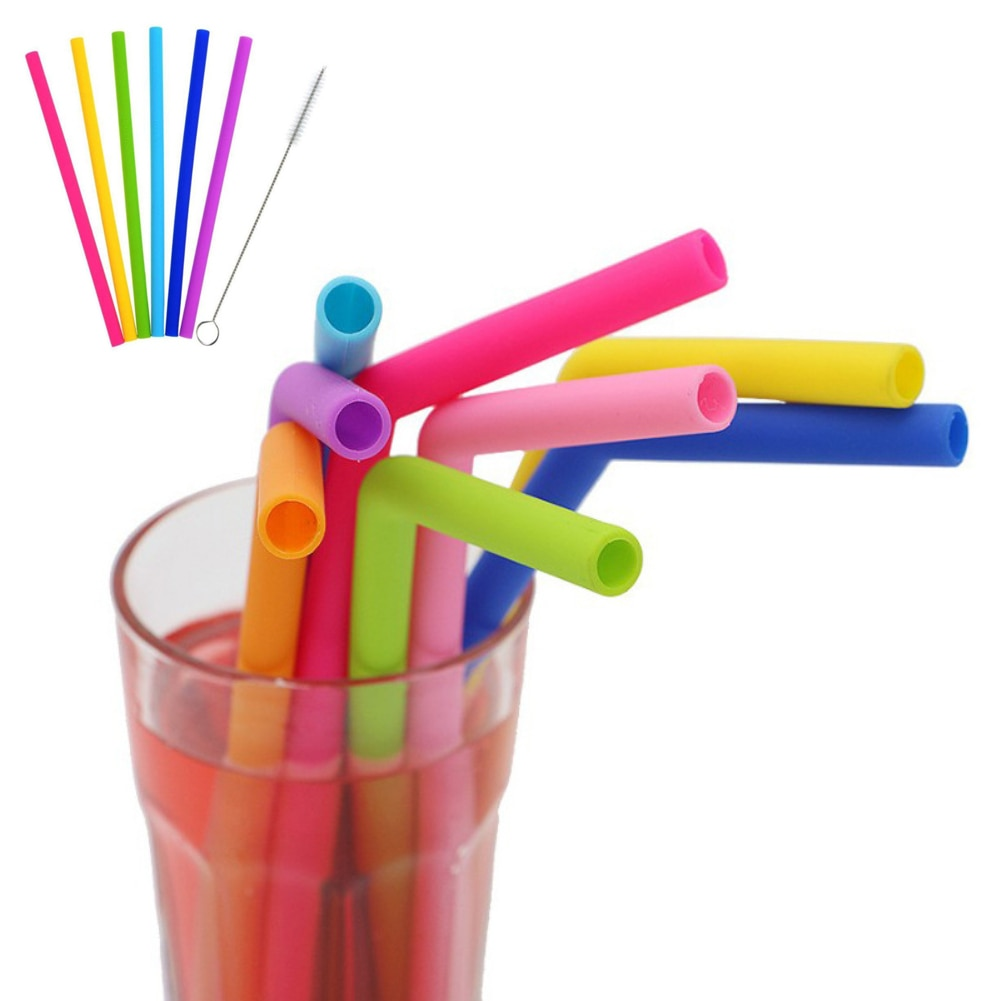 6Pcs Reusable Silicone Straws Food Grade Silicone Straws Drinking With Cleaning Brush Party Straws kitchen gadgets BPA Free