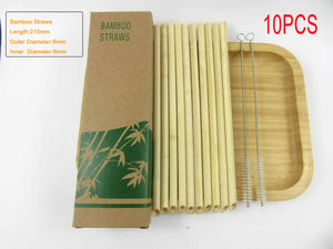 Wholesales 100pcs Light Eco Friendly Reusable Straw 20cm Carbonized Bamboo Smoothie Straws Pointed Coffee Milk Drinking Straw