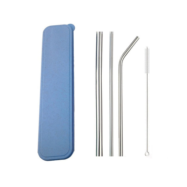 JANKNG Metal Rainbow Blue Glass Straw 304 Stainless Steel Straw with Box Food Grade 12mm Reusable Drinking Straws Dropshipping