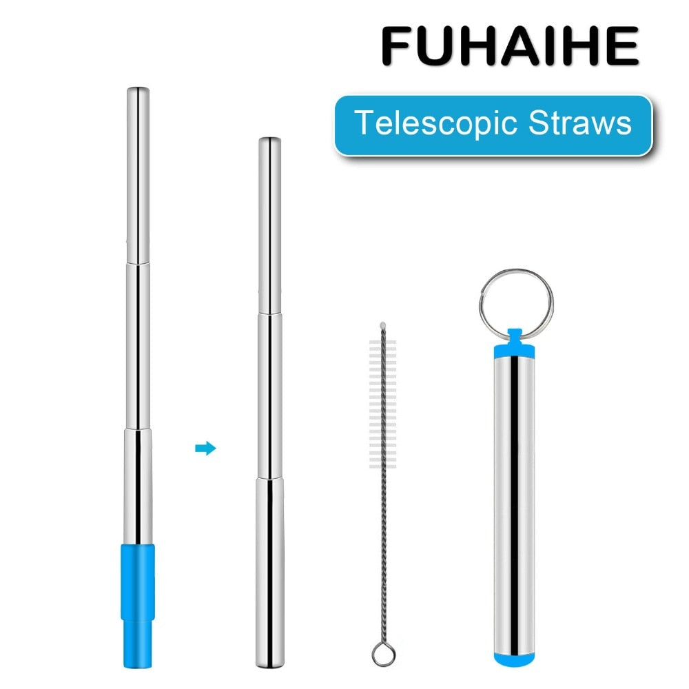FUHAIHE Portable Stainless Steel Telescopic Drinking Straw Reusable Straw with Silicon Tip,Brush,and Metal Carry Case