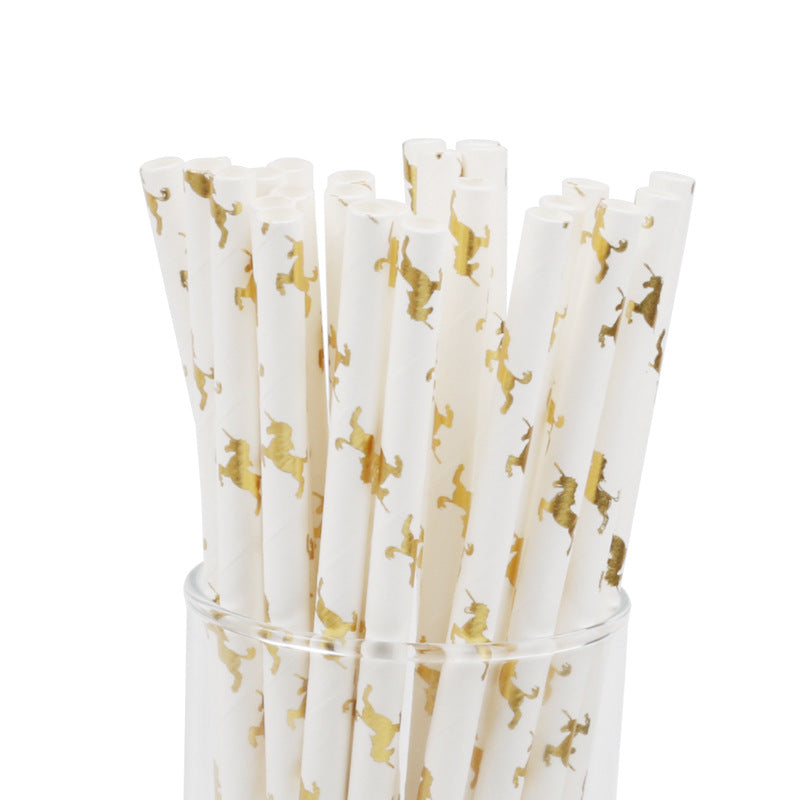 25pcs Glitter Gold Unicorn Paper Straws Biodegradable Drinking Straws Kids Birthday Party Baby Shower Party Decoration Supplies