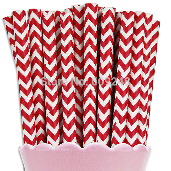 Red Chevron Biodegradable Paper Straws