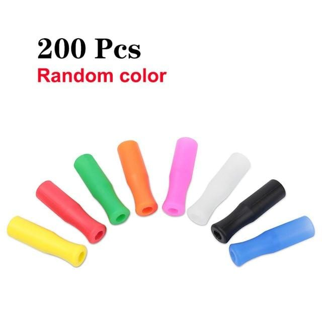 UPORS Silicone Straw Tips Food Grade Reusable Silicone Cover for 6mm Stainless Steel Straws Removable Straw Caps Bar Accessories