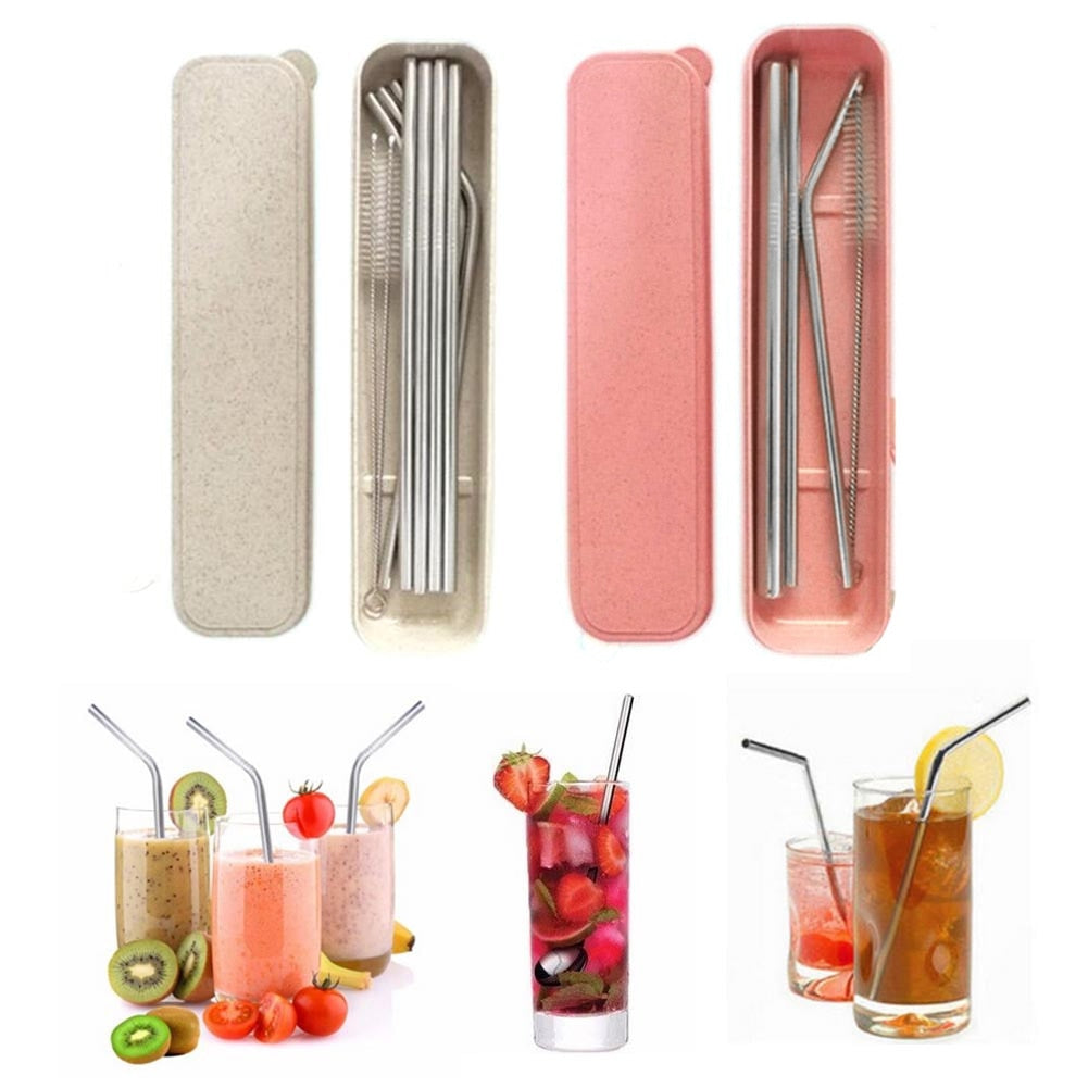 Box Packing Stainless Steel Metal Drinking Straw Reusable Bend Indent / Straight Straws + Cleaner Brush For Mugs