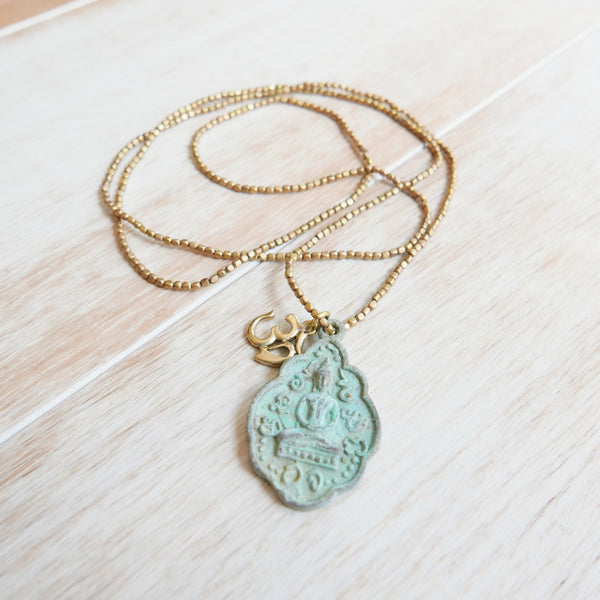 Bali Antique Buddha Necklace with Om Charm on Brass Chain
