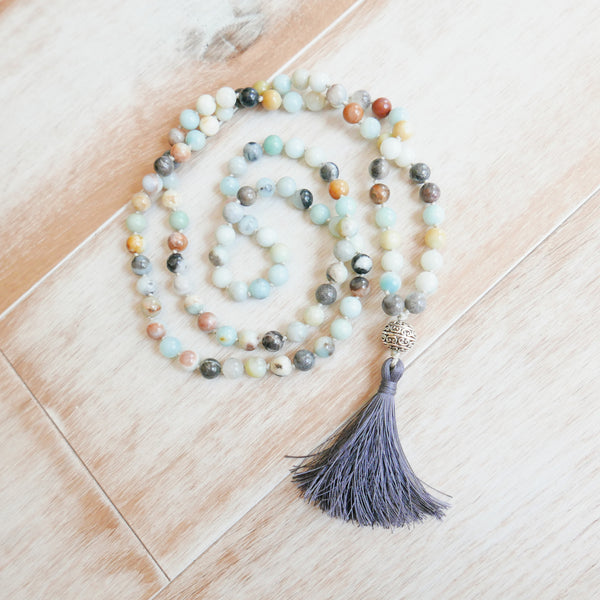 Amazonite Mala - Handknotted 108 Mala Bead Necklace