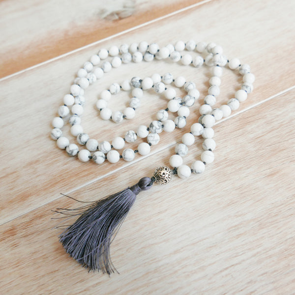 Howlite Mala - Handknotted 108 Mala Bead Necklace