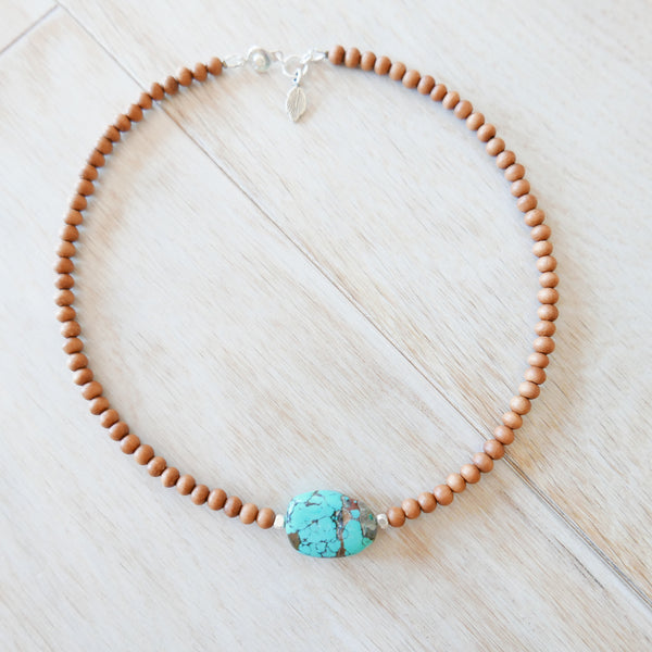 Walks with Spirit Turquoise & Sandalwood Choker Necklace