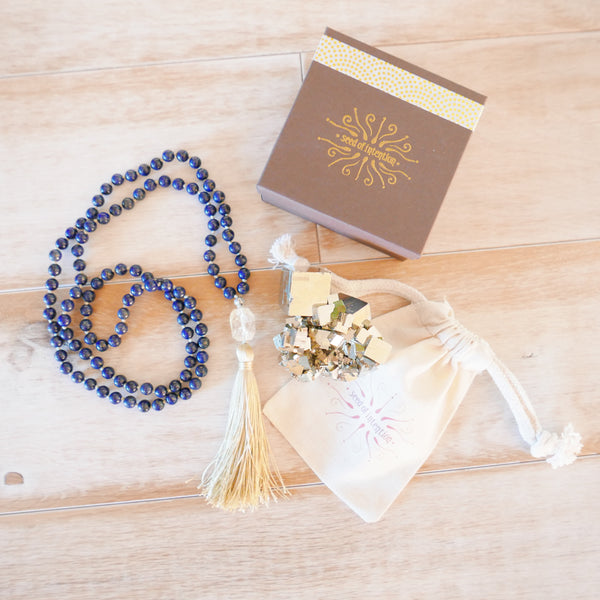 Wisdom & Truth Lapis and Citrine Mala Beads