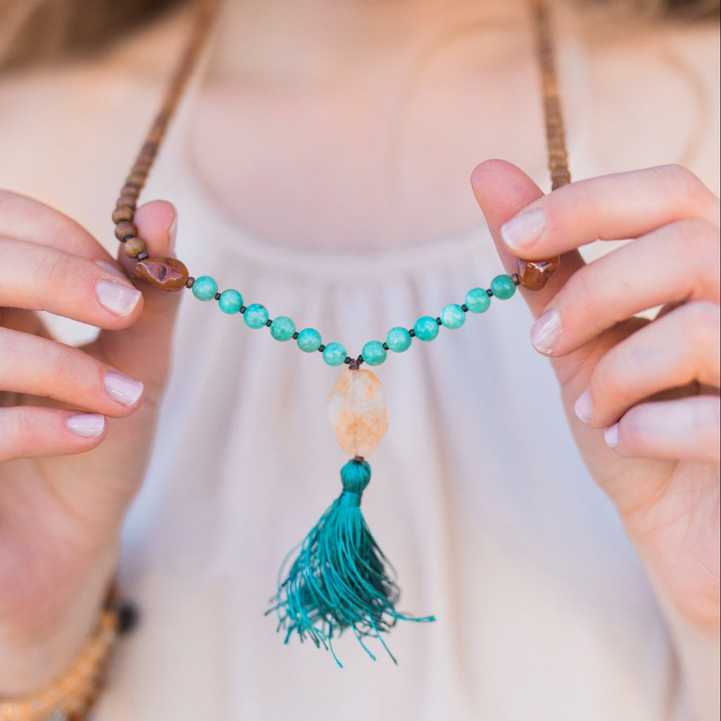 I Am Confident Mala - Handknotted 108 Mala Bead Necklace