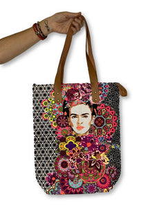 Frida Kahlo Printed Colorful Vegan Leather Tote - Thailand - TAO 919