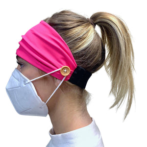 Pink Headband with buttons/ holds facemask in place