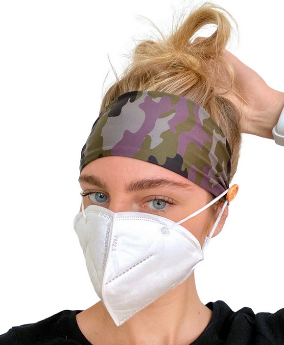 Camo Headband with Buttons for Holding Face Mask in Place - TAO 919