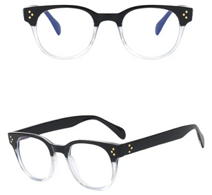 Blue Light Blocker Glasses - Retro/Black Clear Frame - TAO 919