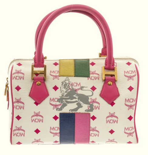 MCM Pink & White Lion Boston Bag - TAO 919