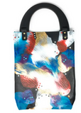 ROB BACON HAND PAINTED BLACK LEATHER SLIM TOTE BAG