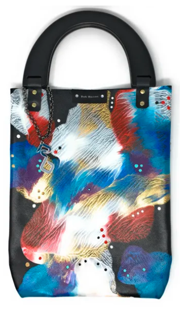 ROB BACON HAND PAINTED BLACK LEATHER SLIM TOTE BAG - TAO 919
