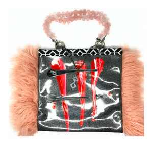 ROB BACON HAND PAINTED FAUX FUR SLIM TOTE WITH ROSE QUARTZ HANDLES