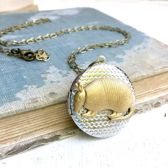 Armadillo Locket Necklace Gold Round Silver Locket