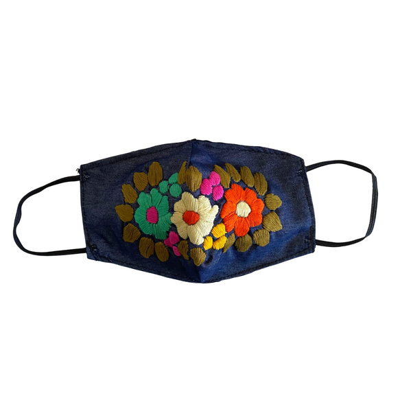 Margarita Denim Embroidered Face Mask - Mexico - TAO 919