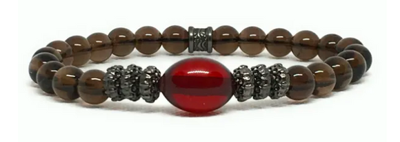 AMBER AND DARK SMOKY QUARTZ PHANTOM STAX BRACELET - TAO 919