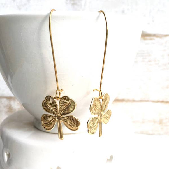 Lucky Shamrock Earrings Four Leaf Clover Earrings Celtic