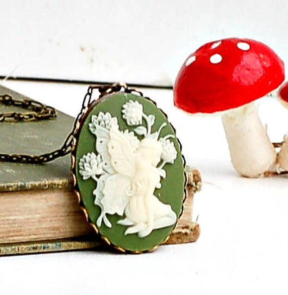 Fairy Necklace Green Spring Cameo Fairy Pendant - TAO 919