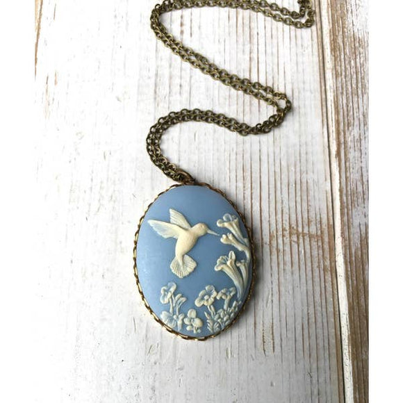 Hummingbird Necklace Blue Cameo Bird Necklace - TAO 919