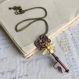 Bee Skeleton Key Necklace Bottle Opener