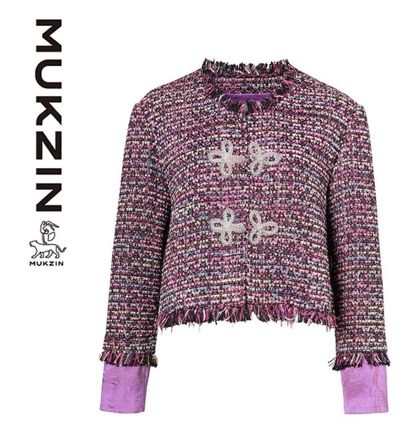 Mukzin Designer Brand Hand-Woven Ribbon Buckle Small Fragrance Coat - SPACE IN THE GOURD, Size L - TAO 919