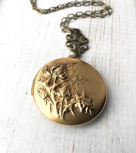 Thistle Locket Necklace Botanical Scotland Flower - TAO 919