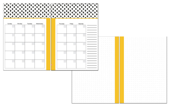 A5 Size Inserts // Three Month Bundle // Customizable Monthly Dot Grid Planner