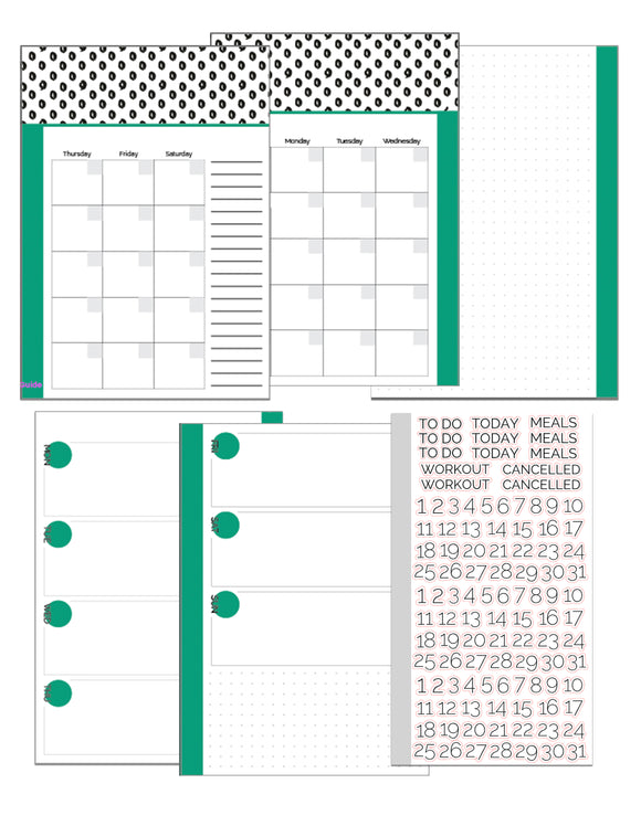 A5 Size Inserts // Three Month Bundle // Customizable Weekly Planner