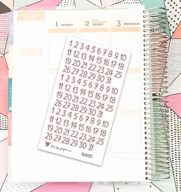 BUJO035 // Date Numbers // Planner Stickers // Bullet Journal