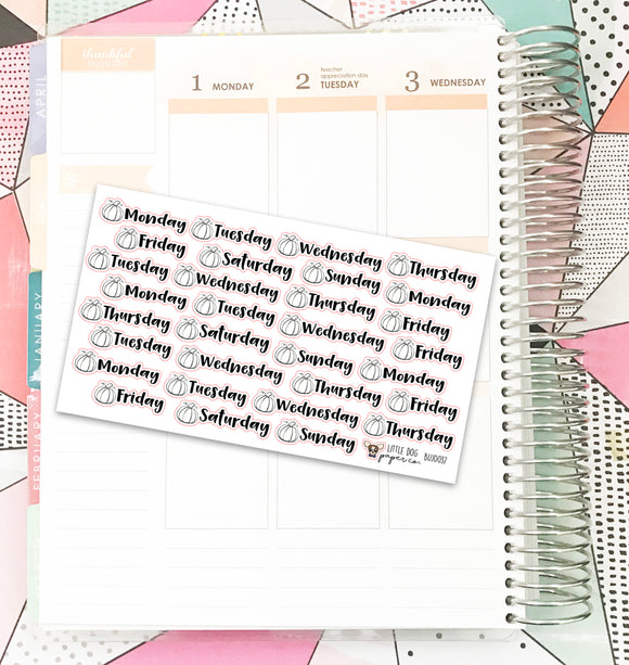 BUJO037 // Pumpkin Weekday Headers // Planner Stickers // Bullet Journal
